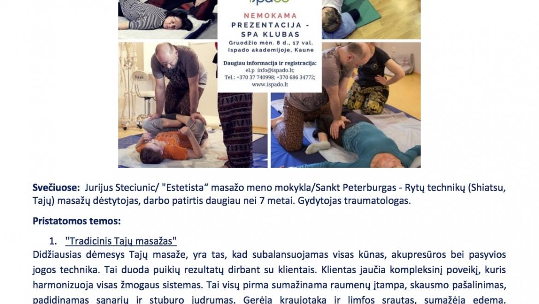 Kviečiame į SPA klubą – svečiuose Tajų tradicinio masažo meistras – Jurij Steciunič